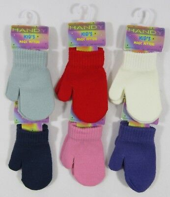 Baby Babies Childrens Kids Magic Gloves Mittens Plain Mits String Fleece NB 12 M
