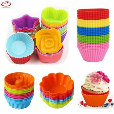 Silicone Round Square Heart-Shaped Cup Cake Muffin Cupcake Cases Baking Cup