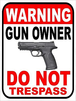 Warning Gun Owner Do Not Trespass Retro Vintage Metal Sign 9x12