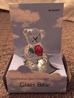 Hand Finished Glass Ornament - Bear Mounted on Round Mirror Stand