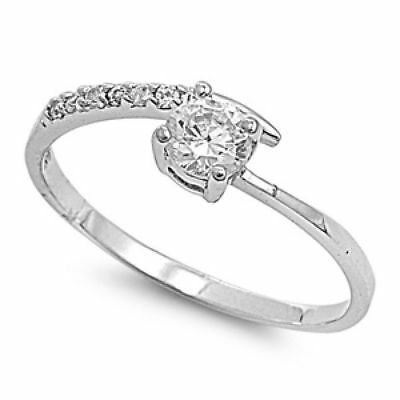 .925 Sterling Silver .50ct Simulated Diamond Size 5 Classic Promise Ring S66
