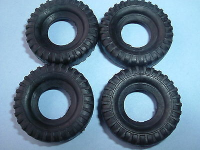 4 New Dinky 27Mm Black Treaded Replacement Tyres