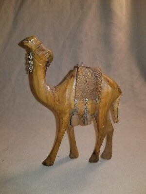Vintage Hand Carved Wooden Camel India