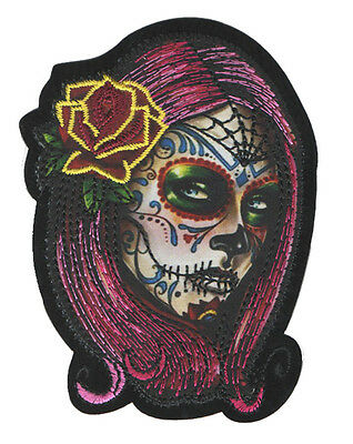 PARCHE bordado en tela CALAVERA CATRINA, EMBROIDERED PATCH