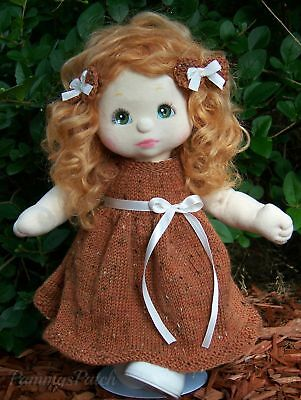 """Hand Knit Fall Harvest Thanksgiving Dress w 2 Hair Bows to Fit 14"""" My Child Doll"""