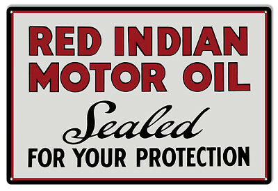 Red Indian Motor Oil Reproduction Garage Shop Metal Sign - 18 x 30 In RVG199