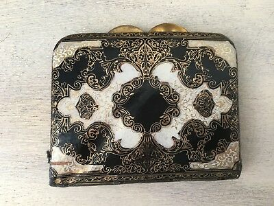 Small Black & Gold Tooled Leather Ladies Purse from The Leather School, Florance