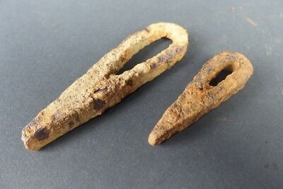 2 antique german medieval forged iron fire starter  ,  #10