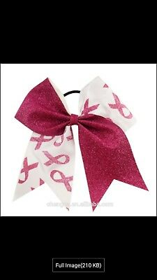 Breast Cancer Awareness Cheer Bow Cheerleader ponytail holder pink Cheerbow