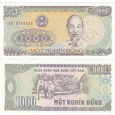 Vietnam 1988,lot Of 5 X 1000, Dong Banknotes Uncirculated,