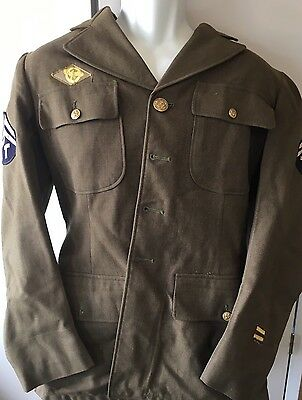 Vintage Army Military olive green Wool Uniform Jacket Coat WWII Ships Free