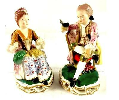 C1820 Pair Antique English Porcelain Figures Of Seated Boy & Girl Probaly Derby