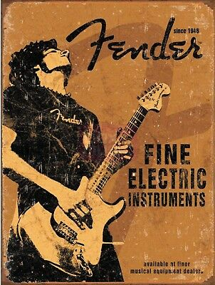 "Fender Guitar Distressed Retro Vintage Nostalgic Metal Tin Sign 9""x12"""