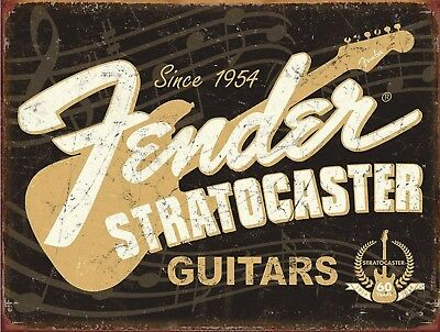 "Fender Strat Guitar Distressed Retro Vintage Nostalgic Metal Tin Sign 9""x12"""