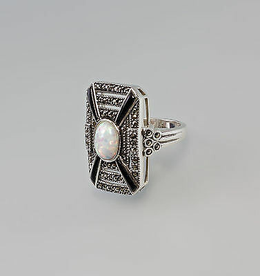 925er Silver Marcasites Ring with Opal Big 57 9907184