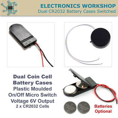 Dual CR2032 CR2025 3V Button Coin Cell Battery Holder Case Box On Off Switch