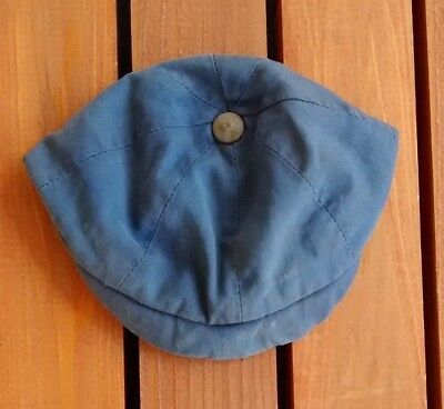 Antique Edwardian Baby Toddler Boy Blue Cotton Hat Cap Early 1900s