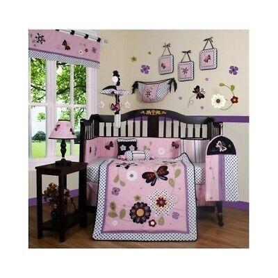 Girls Crib Bedding Pink Flowers Butterfly 13 Pc Set Baby Toddler Quilt Nursery