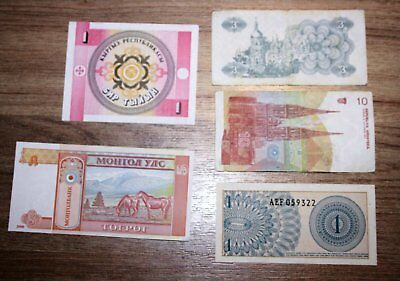 World Banknotes, 5 all different.  *World5.2.. 1-2*