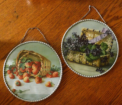 "2 Antique Flue Cover Violets & Strawberries 9 1/2"" Germany Lot"