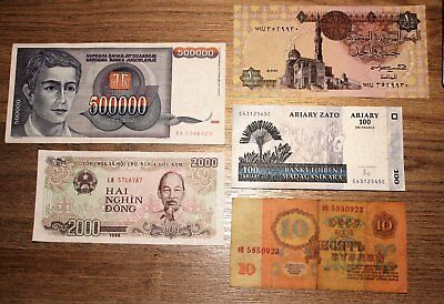 World Banknotes, 5 all different.  *World5.3.. 1-10*