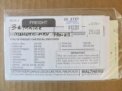 Nos Walthers O Scale Decal -  Boston & Maine Box Car W/ Minute Man Herald #29100