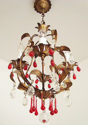Gorgeous Vintage Italian Tole Toleware Chandelier Light Red Glass Droplets