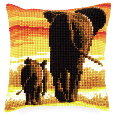 Elephants- Large Holed Printed Tapestry Canvas Cushion Kit - Chunky Cross Stitch