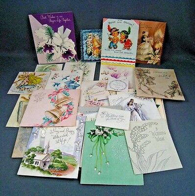 39 Vintage Greeting Card lot Wedding Related 1950s