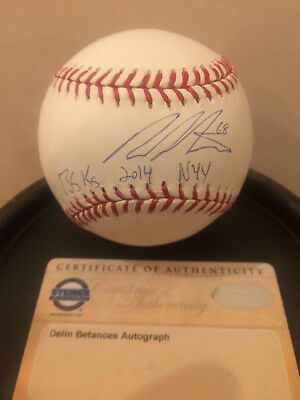 Dellin Betances autographed/inscription MLB Baseball with Steiner COA