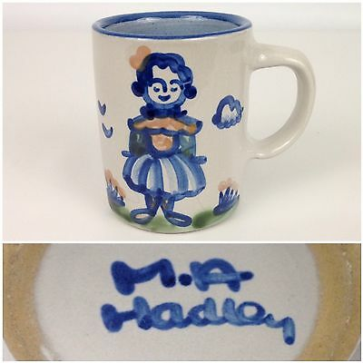 M.A. Hadley Blue Wife Country Scene Pottery Coffee Mug -w- The End Inside Cup