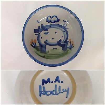 "M.A. Hadley Blue Pig Country Scene 5 1/4"" Cereal Bowl Pottery Hog Sow"