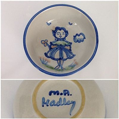 "M.A. Hadley Blue Wife Country Scene 5 1/4"" Cereal Bowl Pottery Woman Girl Lady"