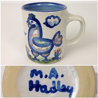 M.A. Hadley Blue Chicken Country Scene Pottery Coffee Mug -w- The End Inside Cup