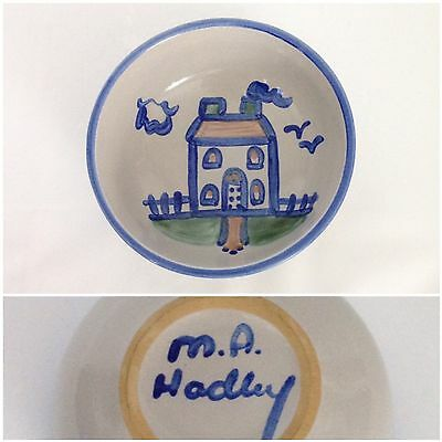 "M.A. Hadley Blue House Country Scene 5 1/4"" Cereal Bowl Pottery Farm Home"
