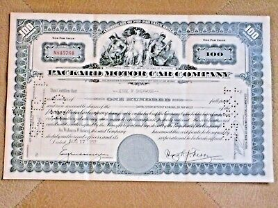 Packard Motor Car Company stock certificate dated August 17, 1953