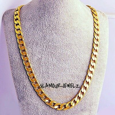 New 18k Yellow Gold Plated 24in Cuban Chain Necklace 4.7MM