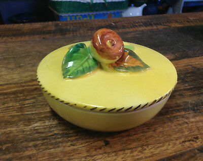 BRT Mid Cent.Vintage Pottery Small Lemon Coloured Lidded Floral Trinkets Bowl