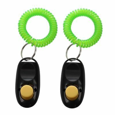 PF 2Pcs Pet Dog Cat Button Click Clicker Trainer Training Obedience Aid Wrist St