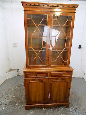 small,georgian,style,reproduction,yew,bookcase,glazed doors,shelves,cabinet,draw