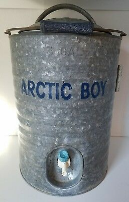 Finest VINTAGE ARCTIC BOY Huge 10 Gallon Galvanized Water Cooler w/Spigot  JY36