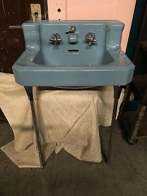 Vintage Blue Porcelain Ceramic Bathroom Sink Old Standard Plumbing T48 USA Legs