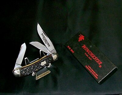 Winchester 3949 Sowbelly Knife Bone Stag Whittler W/Original Packaging Rare Set