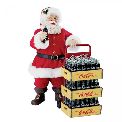 Set of 2 Kurt Adler Coca-Cola Santa with Delivery Cart 10.5-Inch Christmas Decor