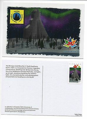 Canada 150 Picture Postage Stamp Postcard Timmins McIntyre Mine Shaft