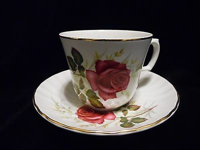 """Ridgway Teacup and Saucer """"Anniversary Rose"""""""
