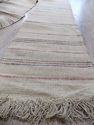 Antique Homespun Raw Heavy Flax Towels 19thC 9pcs total 8,5m Never used RARE