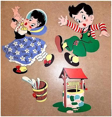 """VINTAGE 4 Pc  Dolly Toy Co  """"JACK & JILL"""" Wall Decor Hang Ups Nursery Toddlers"""
