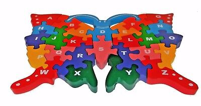 Children Wooden Jigsaw Puzzle Butterfly ABC Alphabet numbers