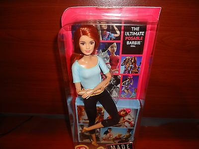 2016 Barbie Doll Made to Move Posable  Light Blue Top Red Hair DPP74